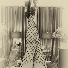 by Kathryn Potempski - Nudes & Boudoir Artistic Nude ( stockings, sepia, model, monochrome, nude, black and white, boudoir, artistic nude, legs, women )