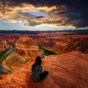 Watching sunset by Buddy Eleazer - Landscapes Deserts ( az, horseshoe canyon, page )