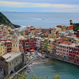 Colours of Vernazza by Hannah Steinke - City,  Street & Park  Vistas ( love, cinque terre, colorful, vernazza, italy,  )