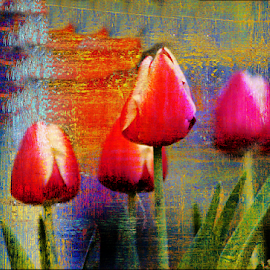 Weathered Tulips by Darlene Lankford Honeycutt - Digital Art Things ( textured, mixed media, dl honeycutt, tulips, digital )