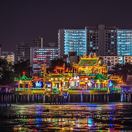 Temple by Lim Keng - City,  Street & Park  Night