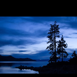 Blue sunset by Karen Watkins Ontiveros - Landscapes Sunsets & Sunrises ( water, sky, blue, sunset, lake tahoe )