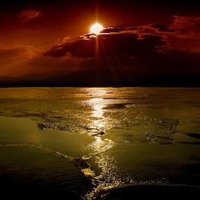 pamukkale 1 by Samet Işık - Landscapes Sunsets & Sunrises ( water, pamukkale, thermal, sunset, travertine )