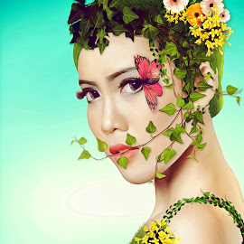 Back To Nature by Charles Mawa - Digital Art People ( potrait, digital art, nature up close, nature close up, natural, women )
