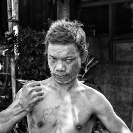 Native by Wing Yin Cheong - People Portraits of Men ( blackandwhite, topless, coconut, village, harvester, philippines, man )