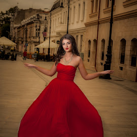 red dress by Adrian  Gabriel - Wedding Bride ( red, dress, beautifull, wedding, bride, light )