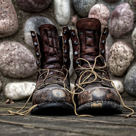 Long Day Done by Dale Minter - Artistic Objects Clothing & Accessories ( blue collar, work, laces, red wing, rock, boots,  )