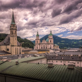 Salzburg by Ole Steffensen - City,  Street & Park  Vistas ( salzburg, church, towers, vista, austria, city )
