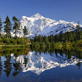 Picture Lake, Mt. Shuksan in Washington by Peter Cheung - Landscapes Mountains & Hills ( mt. shuksan, picture lake,  )