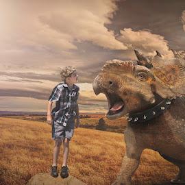 Pet Dino by Danielle Benbeneck - Digital Art People ( fantasy, dino, children, kids, boy, composite,  )