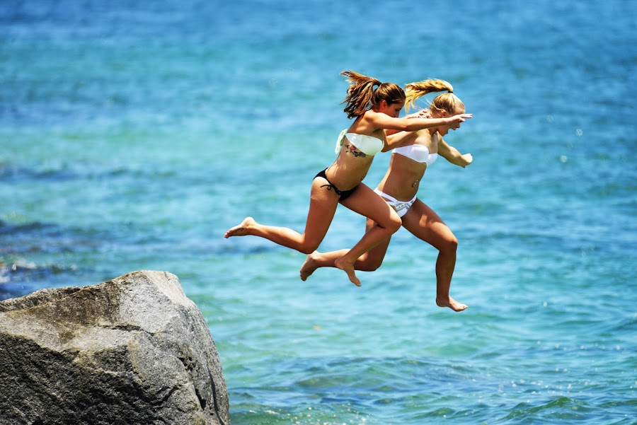 Jumping Off Ponce Inlet Jetty by Bill Telkamp - Sports & Fitness Other Sports ( summer, ocean, fun, beach, swimming, KidsOfSummer,  )