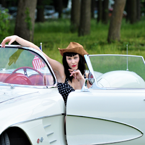 Lady and the hat by Luka Mitrović - People Portraits of Women ( car, old, vintage, lady, hat,  )