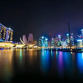 Singapore twilight  by Udayaditya Kashyap - City,  Street & Park  Skylines ( udayaditya kashyap, night view of marina bay, marina bay, singapore )