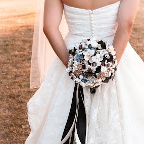 by Emily Schmidt - Wedding Details ( bouquet, wedding dress, broach bouquet, wedding details, bustle,  )