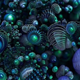 polypoids by Caƶ Dickson - Illustration Abstract & Patterns ( nemitode, mandelbulb, virus, plankton, fractal, algae )