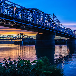 Sunset under the C&O by Richard Michael Lingo - Buildings & Architecture Bridges & Suspended Structures ( ohio, sunset, ohio river, cincinnati, bridges, landscape,  )