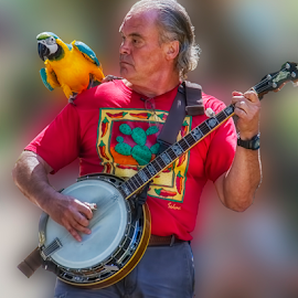 Banjo and Parrot  by Fred Herring - People Musicians & Entertainers
