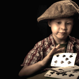 hit me. that makes 20 by William Wotring - Babies & Children Child Portraits ( hats, poker, cards, kid )