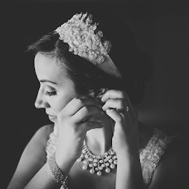 by Jennifer Newberry - Wedding Bride ( summer wedding, vintage bride, black and white, bridal prep, wedding, best female portraiture )
