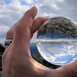 Mountain View Lens Ball by Jeff McVoy - Artistic Objects Other Objects ( lens ball, sky, ball, view, mountain, clouds, lens, sun )