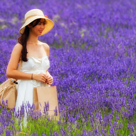 Hitchin Lavender Farm, Hertfordshire, England by Dave Wood - People Street & Candids ( england, oriental, female, field flower, lady, beauty, landscape, flowers, asian )