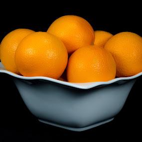 Oranges by Mariusz Murawski - Food & Drink Fruits & Vegetables ( black background, orange, fruit, platter, groceries, fruits, oranges )