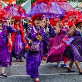 Ladies on Parade by Heather Ryder - People Street & Candids ( parade, march, red, purple, parasol, people, norwich pride )
