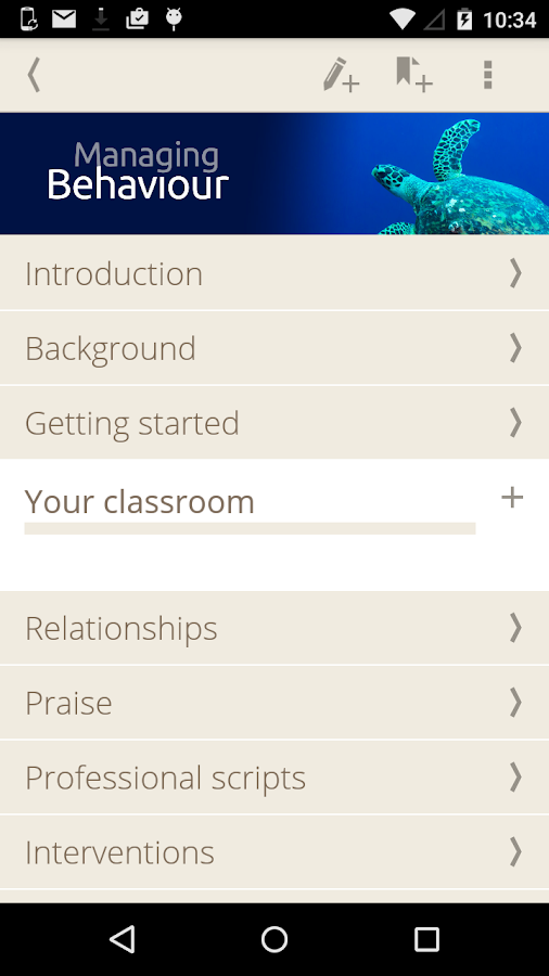 Managing Behaviour Screenshot
