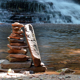 Waterfall Cairns by Barbara Nuetzmann - Nature Up Close Rock & Stone ( water, cairns, waterfall, waters edge )