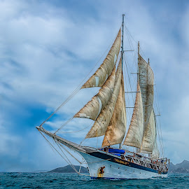 SV Mandalay with Full Sails by Tom Reiman - Transportation Boats ( mandalay, sailing, tall ship, caribbean, full sail )