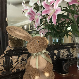 I Like The Smell of that! by Dawn Simpson - Artistic Objects Toys ( brown bunny, artificial, flowers, lillies, bow, bunny )