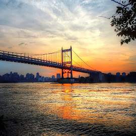 Sunset behind the great Triboro by Joseph Tague - Landscapes Sunsets & Sunrises ( water, sky, park, skyscrapers, sunsets, sunset, parks, sundown, rapids, cityscape, bridge, city, river )