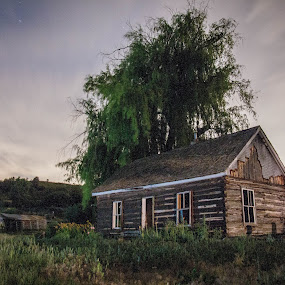 A burned out house at night by Dallas Golden - Buildings & Architecture Other Exteriors ( cabin, night )