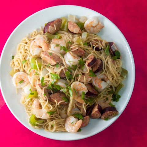 Fat Tuesday Noodles With Smoked Sausage and Shrimp