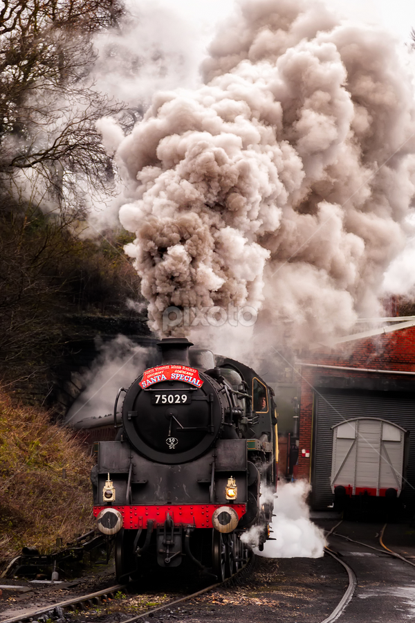 75029 The green Knight  by Martin Tyson - Transportation Trains ( north yorkshire moors, track, express, historic, heritage, the green knight, grosmont, santa, railway, martin tyson canon 5d mkii, yorkshire, train, nymr, 75029, special, steam )