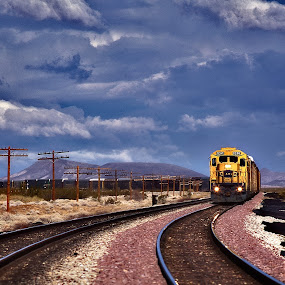 Yellow Engin by Thomas Born - Transportation Trains ( trin tracks, clouds, train, rainway )