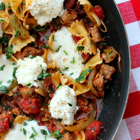 Bow Tie Pasta and Italian Turkey Sausage Skillet Meal