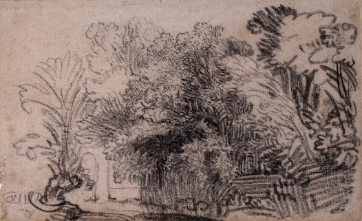 This sketch was most likely made by <b>Rembrandt</b> in the open air, noting down a motif for development back in the studio. The artist often carried a small sketchbook with him for this purpose.