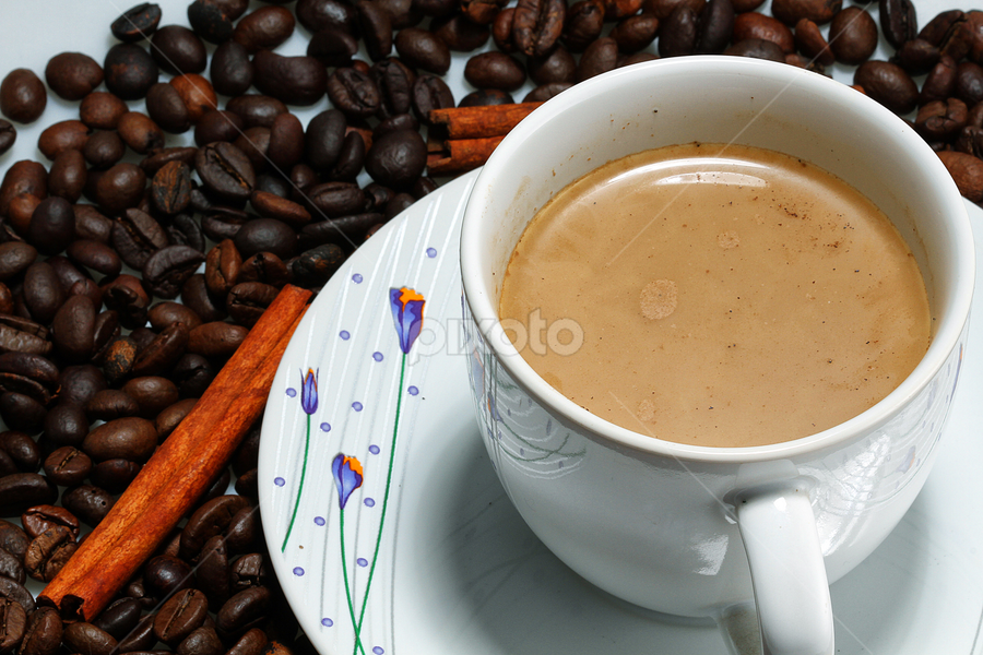 coffee n beans by Ismed  Hasibuan  - Food & Drink Alcohol & Drinks ( cup, cinnamon, cappuccino, beans, food, saucer, drinks )