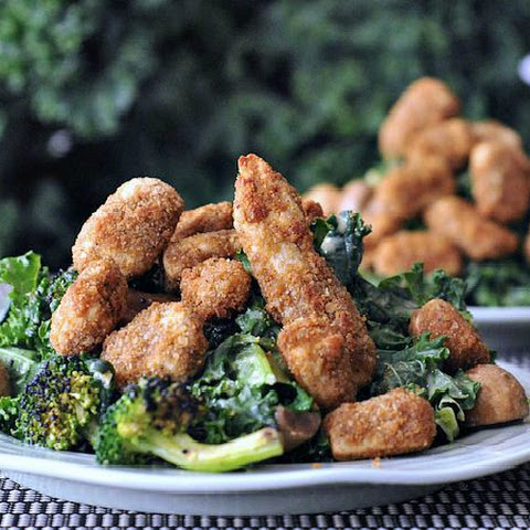 Sesame Ginger Poppers over Broccoli Kale Salad