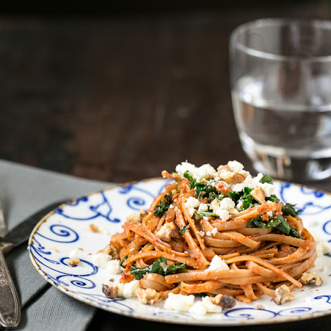 Roasted Red Pepper Pesto Linguine with Kale and Feta