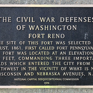THE CIVIL WAR DEFENSESOF WASHINGTONFORT RENOTHE SITE OF THIS FORT WAS SELECTED INAUGUST, 1861. FIRST CALLED FORT PENNSYLVANIA,THE FORT WAS LOCATED AT AN ELEVATION OF430 FEET, COMMANDING THREE ...
