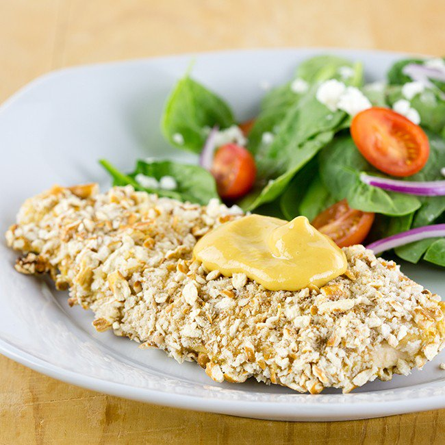 Skinny Honey Mustard Pretzel Chicken Recipe | Yummly