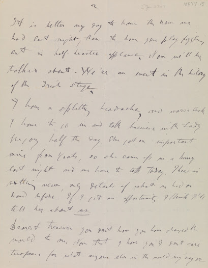 The morning after the riots, Synge wrote to his fiancée Molly Allgood. In the face of a hostile reception, he was keenly aware of the value of engaging his audience. 110 years on, 'The Playboy' continues to do so. (1/2)