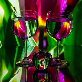 Purple Tulips 2 by Lisa Hendrix - Artistic Objects Other Objects ( purple, apple, colors, green, artistic, reflections, colorful wine glasses, yellow )