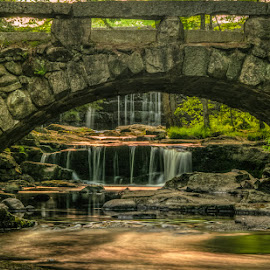 Under the Bridge by Chris Cavallo - Buildings & Architecture Bridges & Suspended Structures ( stonehenge, maine, vaughan woods,  hobbitland, sunset, waterfall, bridge, woods, golden hour )