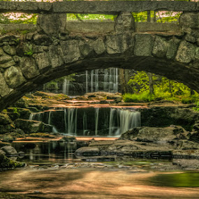 Under the Bridge by Chris Cavallo - Buildings & Architecture Bridges & Suspended Structures ( stonehenge, maine, vaughan woods,  hobbitland, sunset, waterfall, bridge, woods, golden hour,  )