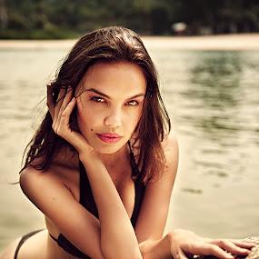 Irressistable by Raymund Evangelista - People Portraits of Women ( hot lips, beautiful, stare, best, winner, beach, bikini, perfect, black )