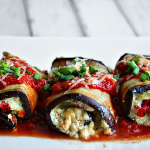 Grilled Eggplant Roulade with Pesto Ricotta Filling