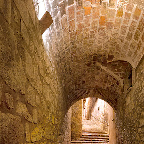 Girona Alleyway Panoramic by Rich Voninski - Buildings & Architecture Public & Historical